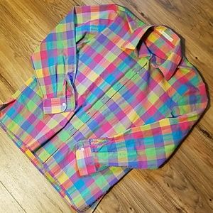 Tops - Bright plaid button up.